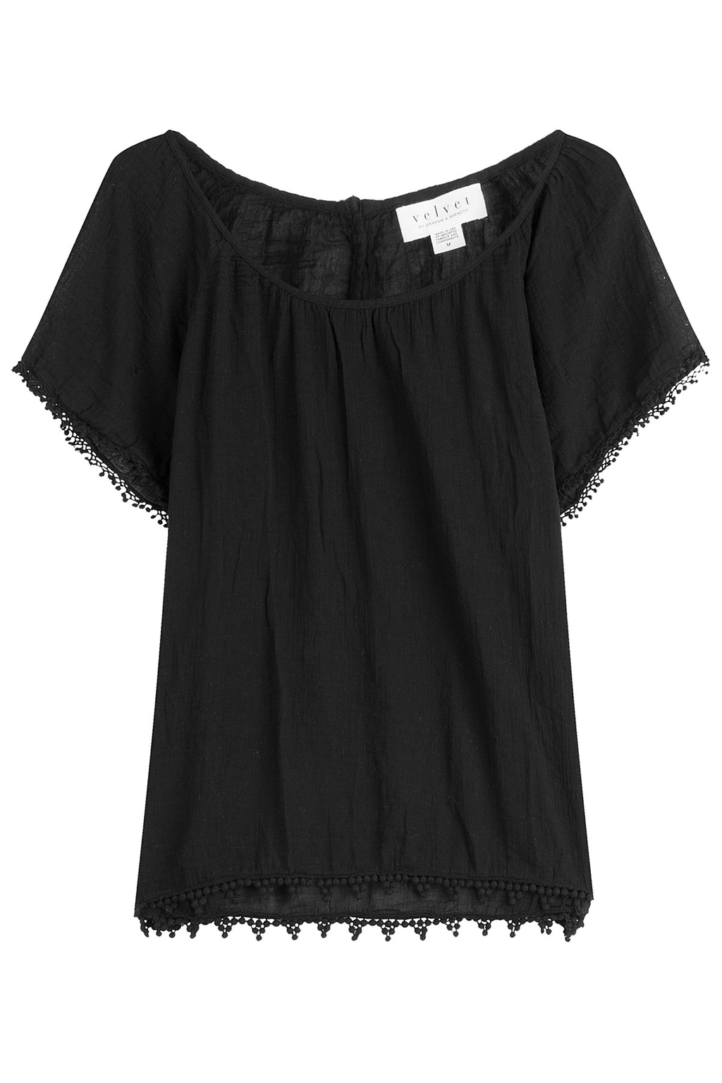 Cotton Top With Embroidered Trim Black - neckline: round neck; pattern: plain; predominant colour: black; occasions: casual; length: standard; style: top; fibres: cotton - 100%; fit: body skimming; sleeve length: short sleeve; sleeve style: standard; texture group: cotton feel fabrics; pattern type: fabric; season: s/s 2016; wardrobe: basic