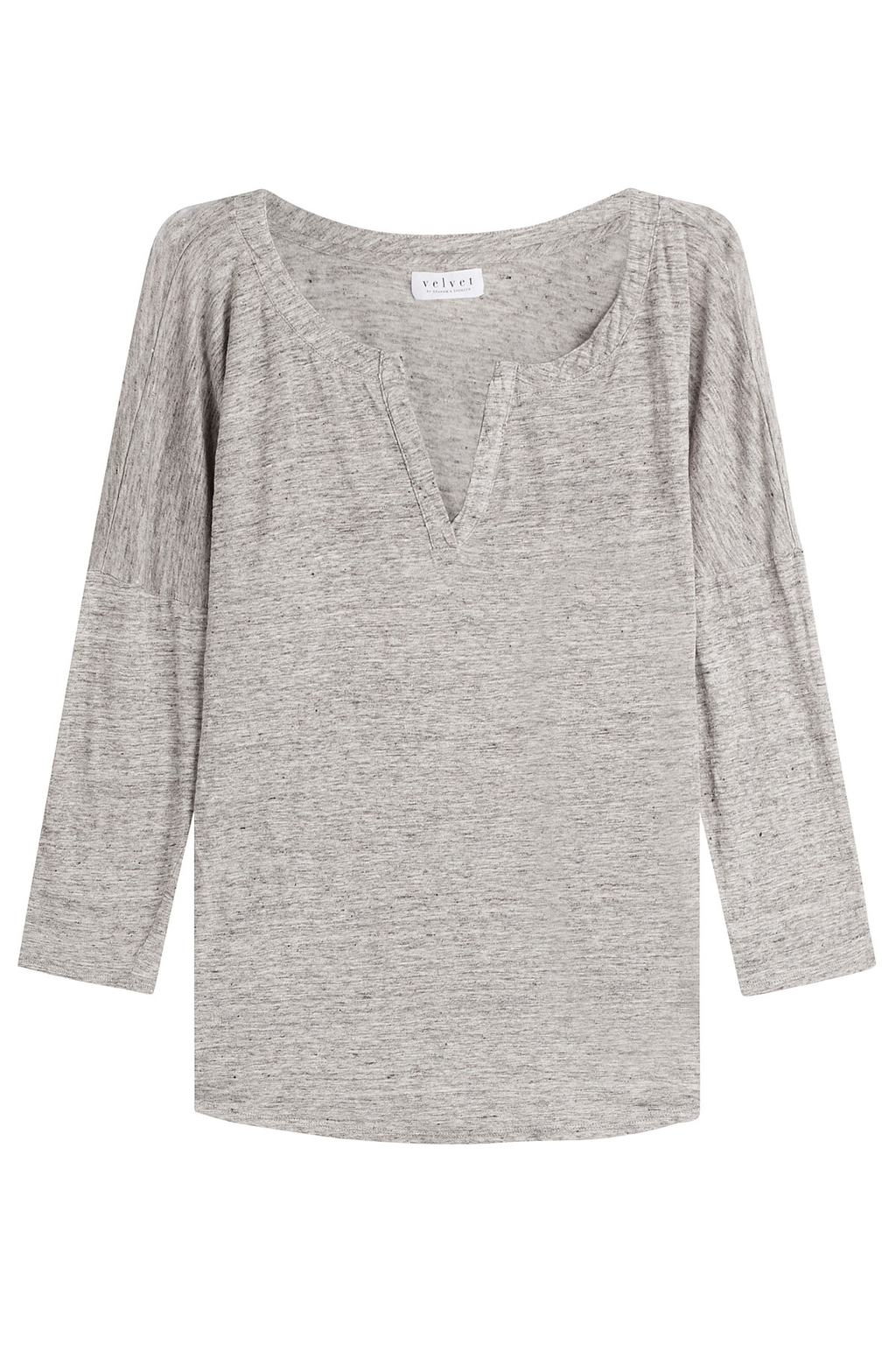 Linen Top Grey - predominant colour: mid grey; occasions: casual; length: standard; style: top; neckline: collarstand & mandarin with v-neck; fibres: linen - 100%; fit: body skimming; sleeve length: 3/4 length; sleeve style: standard; texture group: linen; pattern type: fabric; pattern size: light/subtle; pattern: marl; season: s/s 2016