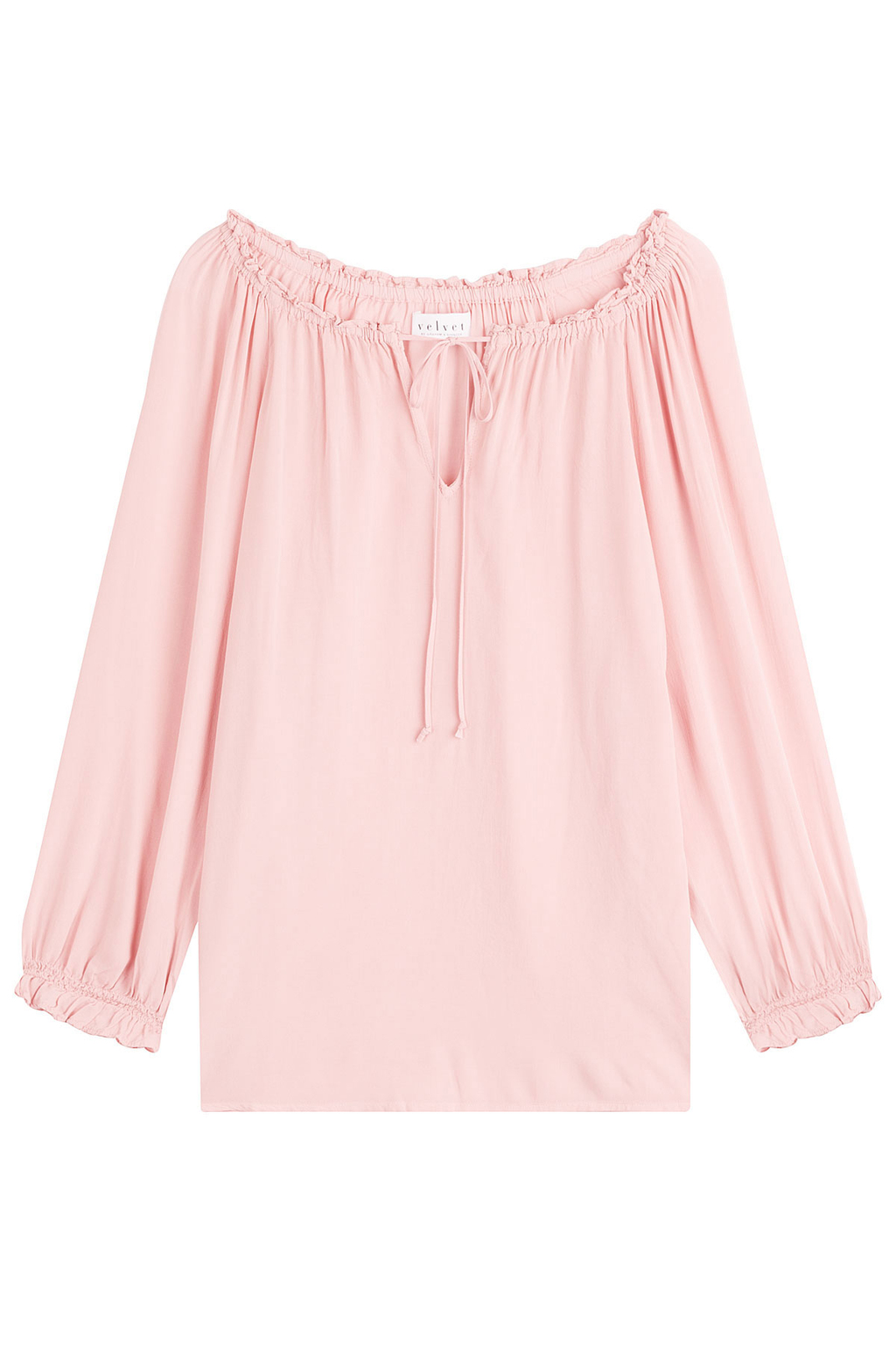 Ruched Top - pattern: plain; bust detail: subtle bust detail; predominant colour: blush; occasions: casual, creative work; length: standard; style: top; neckline: peep hole neckline; fibres: viscose/rayon - 100%; fit: loose; sleeve length: 3/4 length; sleeve style: standard; pattern type: fabric; texture group: jersey - stretchy/drapey; season: s/s 2016; wardrobe: basic