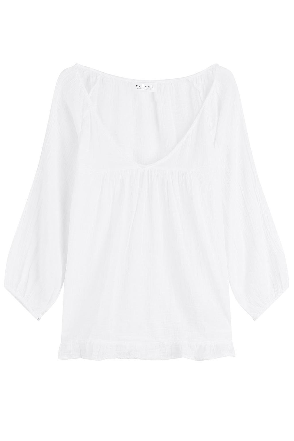 Cotton Blouse - neckline: slash/boat neckline; pattern: plain; sleeve style: kimono; style: blouse; predominant colour: white; occasions: casual, creative work; length: standard; fibres: cotton - 100%; fit: body skimming; sleeve length: long sleeve; texture group: cotton feel fabrics; pattern type: fabric; season: s/s 2016; wardrobe: basic