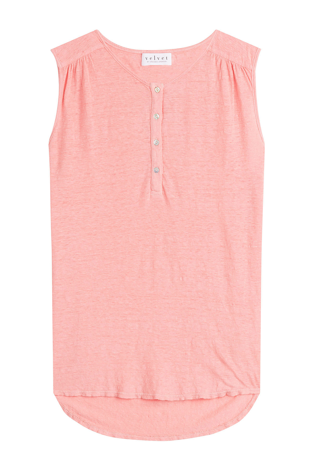 Sleeveless Linen Top - neckline: round neck; pattern: plain; sleeve style: sleeveless; predominant colour: pink; occasions: casual, creative work; length: standard; style: top; fibres: linen - 100%; fit: straight cut; shoulder detail: subtle shoulder detail; back detail: longer hem at back than at front; sleeve length: sleeveless; texture group: linen; pattern type: fabric; season: s/s 2016; wardrobe: highlight; embellishment location: bust