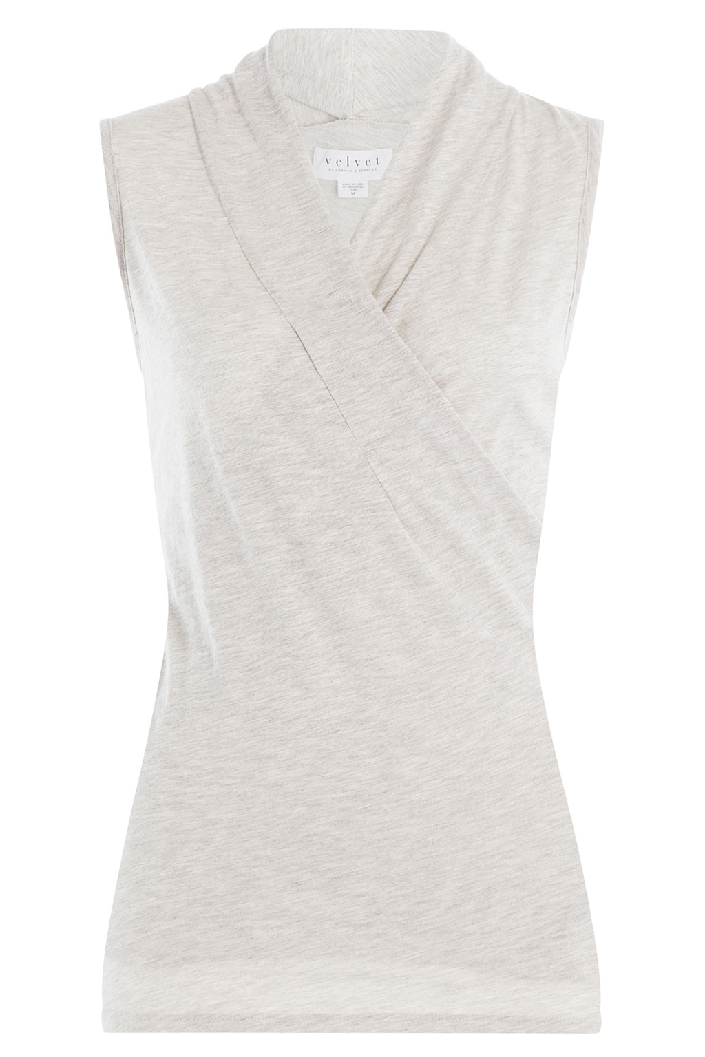 Cotton Blend Sleeveless Top - neckline: v-neck; pattern: plain; sleeve style: sleeveless; length: below the bottom; bust detail: subtle bust detail; predominant colour: light grey; occasions: work; style: top; fibres: cotton - 100%; fit: tailored/fitted; shoulder detail: subtle shoulder detail; sleeve length: sleeveless; pattern type: fabric; texture group: jersey - stretchy/drapey; season: s/s 2016; wardrobe: highlight