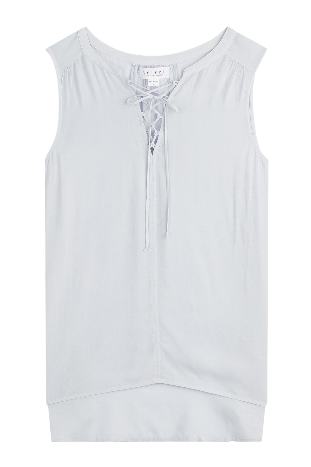 Lace Up Sleeveless Top - neckline: v-neck; pattern: plain; sleeve style: sleeveless; predominant colour: pale blue; occasions: casual; length: standard; style: top; fibres: viscose/rayon - 100%; fit: body skimming; sleeve length: sleeveless; pattern type: fabric; texture group: jersey - stretchy/drapey; season: s/s 2016; wardrobe: highlight