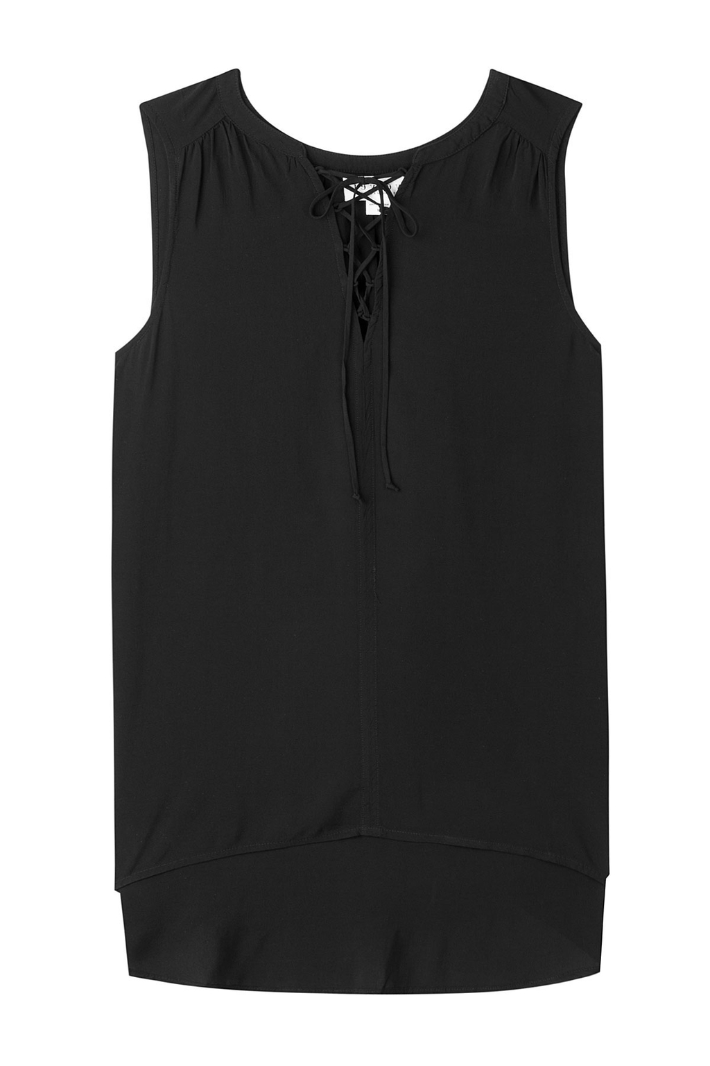 Leonna Top With Lace Up Front Black - neckline: v-neck; pattern: plain; sleeve style: sleeveless; predominant colour: black; occasions: casual; length: standard; style: top; fibres: viscose/rayon - 100%; fit: body skimming; sleeve length: sleeveless; pattern type: fabric; texture group: jersey - stretchy/drapey; season: s/s 2016