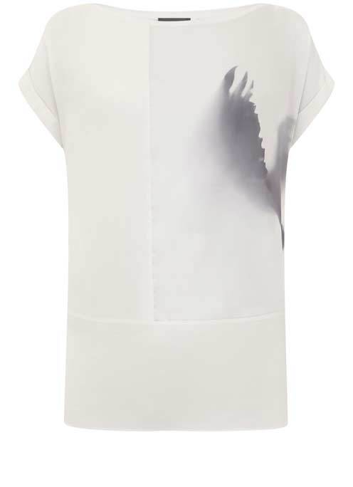 Macie Block Tee - neckline: slash/boat neckline; sleeve style: capped; style: t-shirt; secondary colour: charcoal; predominant colour: light grey; occasions: casual, creative work; length: standard; fibres: polyester/polyamide - 100%; fit: straight cut; sleeve length: short sleeve; texture group: crepes; pattern type: fabric; pattern size: light/subtle; pattern: patterned/print; season: s/s 2016; wardrobe: highlight