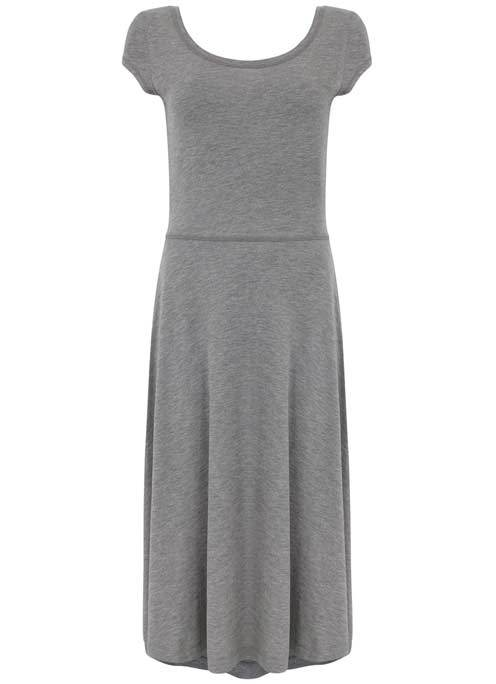 Grey Marl Ballet Jersey Dress - length: below the knee; sleeve style: capped; pattern: plain; predominant colour: light grey; occasions: casual, creative work; fit: fitted at waist & bust; style: fit & flare; neckline: scoop; fibres: cotton - stretch; hip detail: soft pleats at hip/draping at hip/flared at hip; sleeve length: short sleeve; pattern type: fabric; texture group: jersey - stretchy/drapey; season: s/s 2016; wardrobe: basic