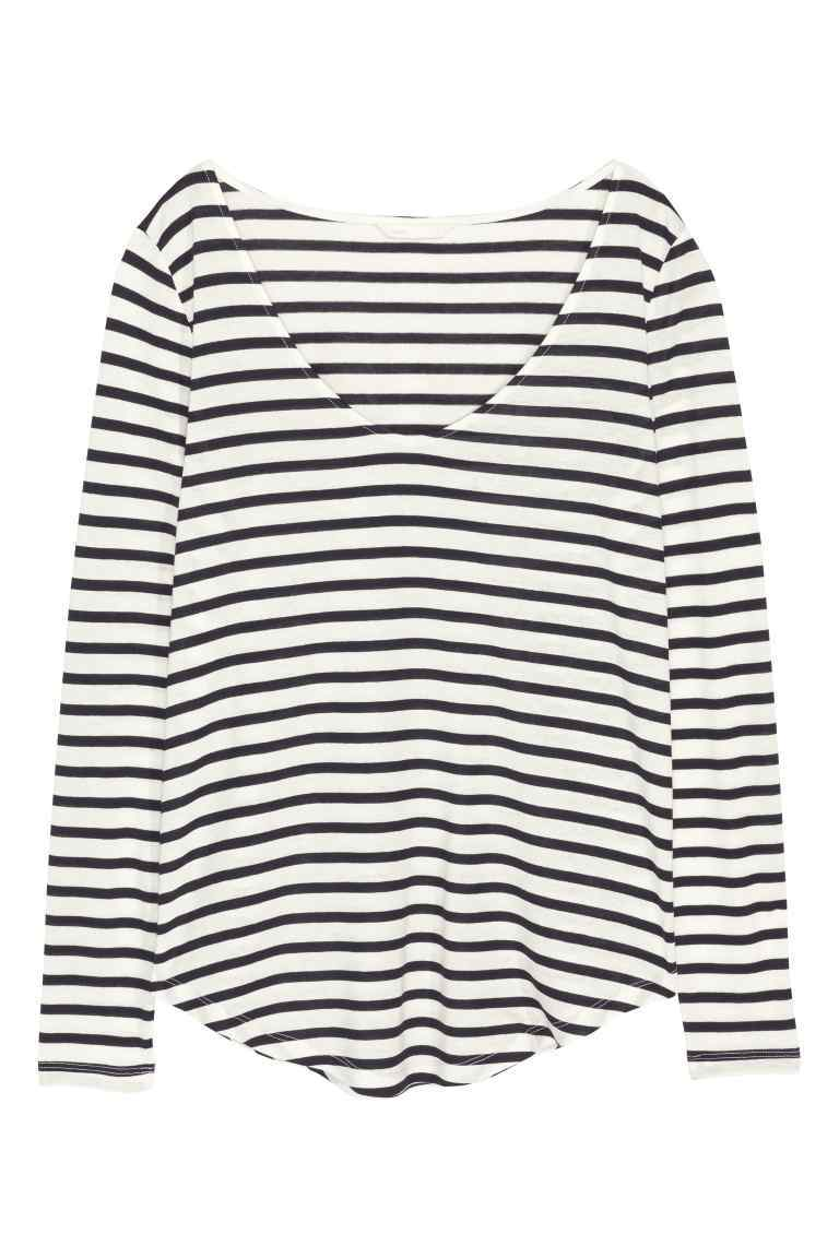 V Neck Jersey Top - pattern: horizontal stripes; style: t-shirt; secondary colour: white; predominant colour: navy; occasions: casual; length: standard; neckline: scoop; fibres: cotton - stretch; fit: loose; sleeve length: long sleeve; sleeve style: standard; pattern type: fabric; pattern size: standard; texture group: jersey - stretchy/drapey; season: s/s 2016; wardrobe: basic