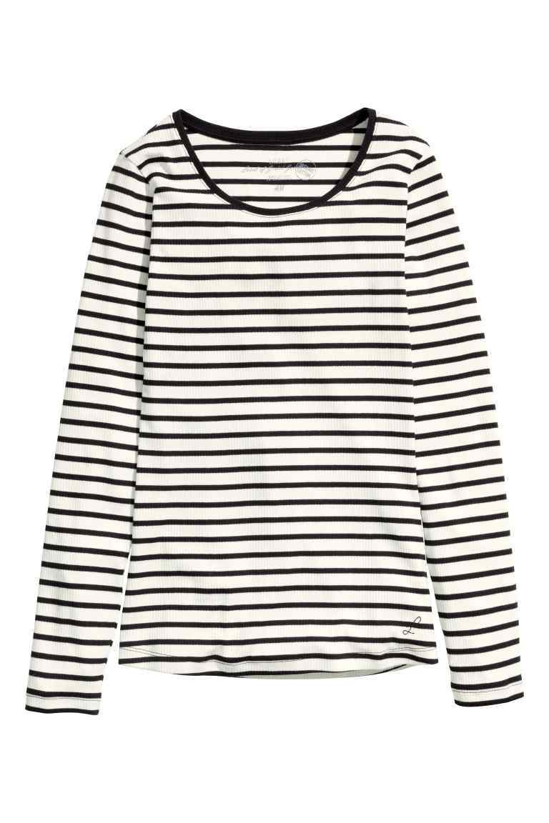 Ribbed Jersey Top - neckline: round neck; pattern: horizontal stripes; secondary colour: white; predominant colour: black; occasions: casual, creative work; length: standard; style: top; fibres: cotton - stretch; fit: body skimming; sleeve length: long sleeve; sleeve style: standard; trends: monochrome, graphic stripes; pattern type: fabric; texture group: jersey - stretchy/drapey; pattern size: big & busy (top); season: s/s 2016