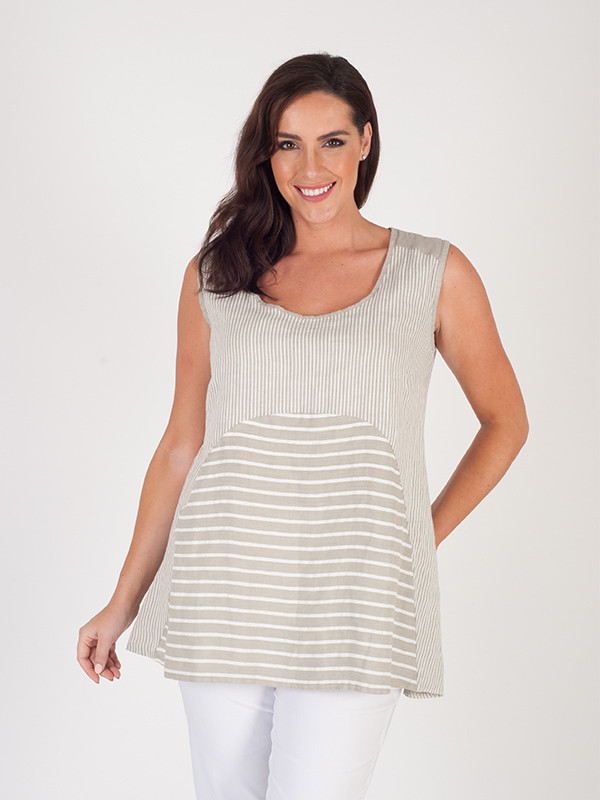 Beige Mixed Stripe Linen Camisole - pattern: horizontal stripes; sleeve style: sleeveless; length: below the bottom; secondary colour: white; predominant colour: stone; occasions: casual; style: top; neckline: scoop; fibres: linen - 100%; fit: body skimming; sleeve length: sleeveless; texture group: linen; pattern type: fabric; pattern size: light/subtle; season: s/s 2016; wardrobe: basic