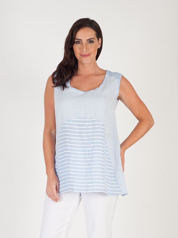 Sky Blue Mixed Stripe Linen Camisole - neckline: round neck; pattern: plain; sleeve style: sleeveless; length: below the bottom; secondary colour: white; predominant colour: pale blue; occasions: casual; style: top; fibres: linen - 100%; fit: body skimming; sleeve length: sleeveless; texture group: linen; pattern type: fabric; season: s/s 2016