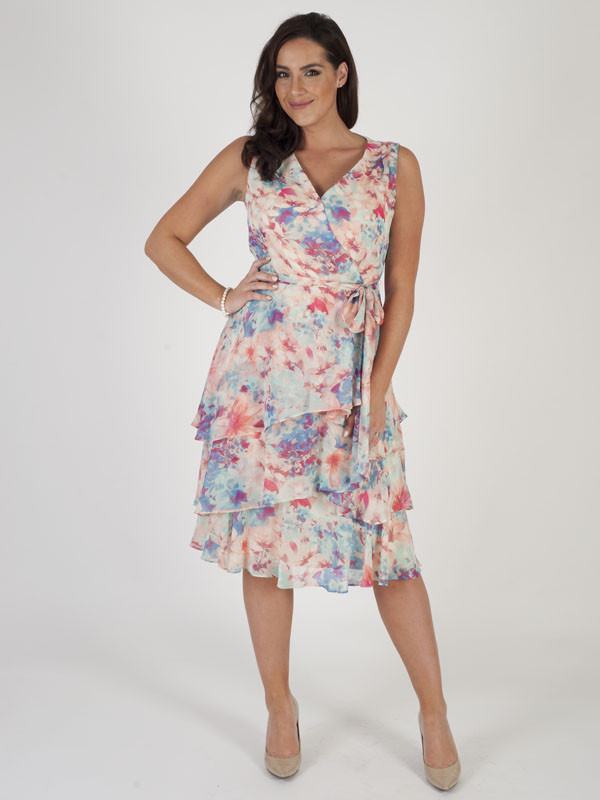 Tahari Aqua/Pink Multi Coloured Floral Printed Dress - style: faux wrap/wrap; length: below the knee; neckline: v-neck; sleeve style: sleeveless; predominant colour: pink; secondary colour: pale blue; fit: body skimming; fibres: polyester/polyamide - 100%; occasions: occasion; sleeve length: sleeveless; pattern type: fabric; pattern: patterned/print; texture group: other - light to midweight; multicoloured: multicoloured; season: s/s 2016