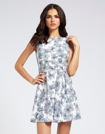 Mela Floral Sketch Dress - length: mid thigh; sleeve style: sleeveless; secondary colour: navy; predominant colour: mid grey; occasions: casual; fit: fitted at waist & bust; style: fit & flare; fibres: cotton - 100%; neckline: crew; sleeve length: sleeveless; texture group: cotton feel fabrics; pattern type: fabric; pattern: patterned/print; season: s/s 2016; wardrobe: highlight