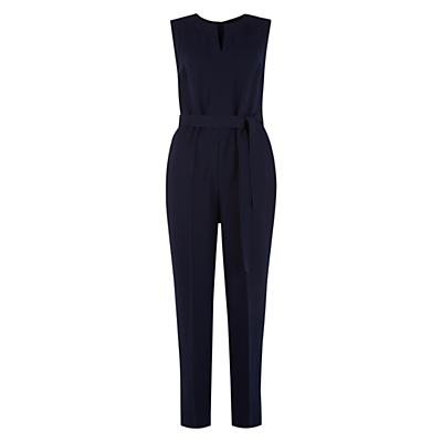 Naomi Jumpsuit, Navy - neckline: v-neck; fit: tailored/fitted; pattern: plain; sleeve style: sleeveless; waist detail: belted waist/tie at waist/drawstring; predominant colour: navy; occasions: evening, creative work; length: ankle length; fibres: polyester/polyamide - 100%; sleeve length: sleeveless; texture group: crepes; style: jumpsuit; pattern type: fabric; season: s/s 2016; wardrobe: highlight
