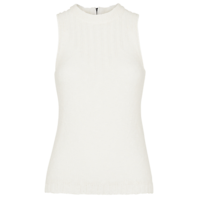 Zip Back Knitted Vest - pattern: plain; sleeve style: sleeveless; neckline: high neck; predominant colour: white; occasions: casual, creative work; length: standard; style: top; fibres: cotton - mix; fit: body skimming; sleeve length: sleeveless; texture group: knits/crochet; pattern type: knitted - fine stitch; season: s/s 2016; wardrobe: highlight; embellishment location: bust
