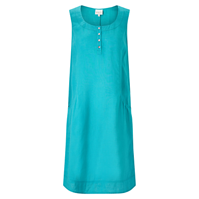 Linen Pocket Dress - style: tunic; neckline: round neck; pattern: plain; sleeve style: sleeveless; predominant colour: turquoise; occasions: casual; length: just above the knee; fit: soft a-line; fibres: linen - 100%; sleeve length: sleeveless; texture group: linen; pattern type: fabric; season: s/s 2016; wardrobe: highlight