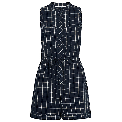 Check Linen Playsuit, Navy - fit: tailored/fitted; sleeve style: sleeveless; pattern: checked/gingham; waist detail: belted waist/tie at waist/drawstring; length: short shorts; secondary colour: white; predominant colour: navy; occasions: casual, creative work; neckline: collarstand; fibres: linen - 100%; sleeve length: sleeveless; style: playsuit; bust detail: bulky details at bust; pattern type: fabric; pattern size: standard; texture group: woven light midweight; season: s/s 2016; wardrobe: highlight