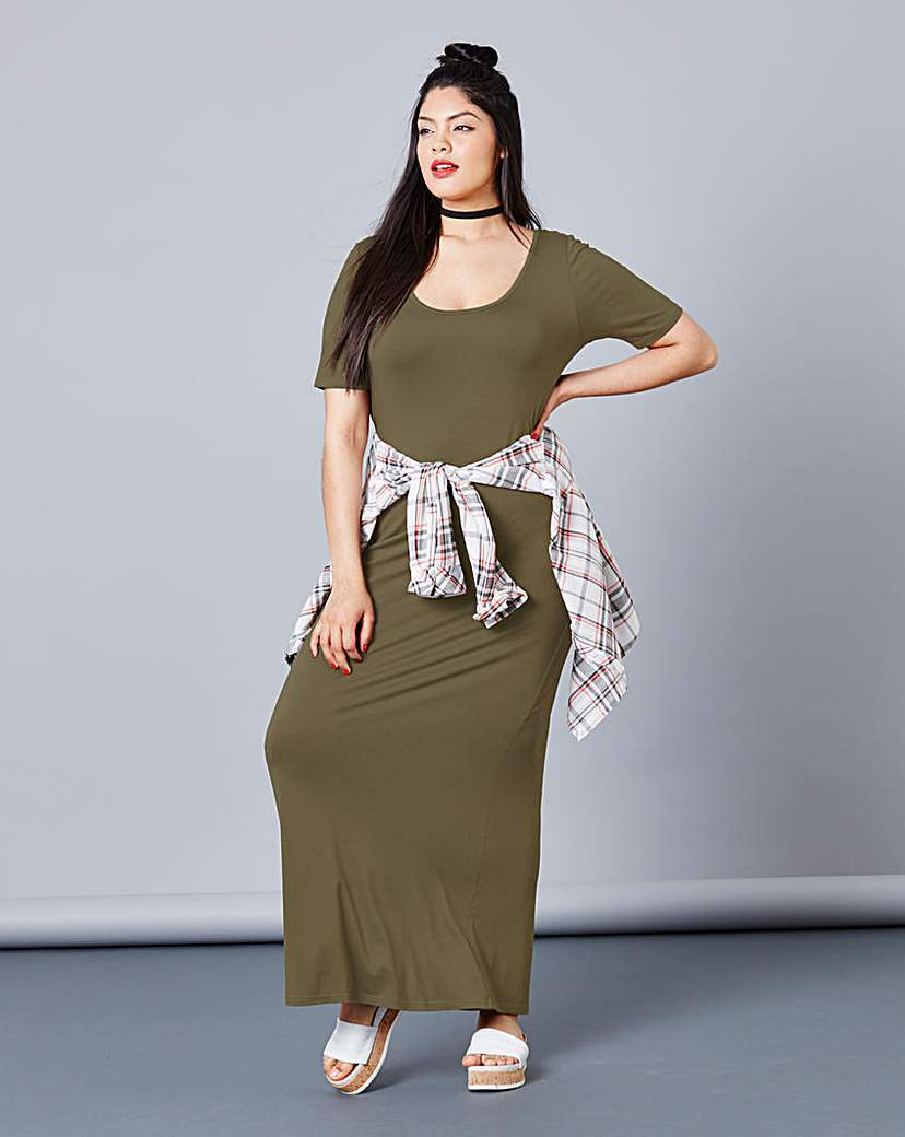 Khaki Jersey Maxi T Shirt Dress - pattern: plain; style: maxi dress; length: ankle length; predominant colour: khaki; occasions: casual; fit: body skimming; neckline: scoop; fibres: viscose/rayon - stretch; sleeve length: short sleeve; sleeve style: standard; pattern type: fabric; texture group: jersey - stretchy/drapey; season: s/s 2016