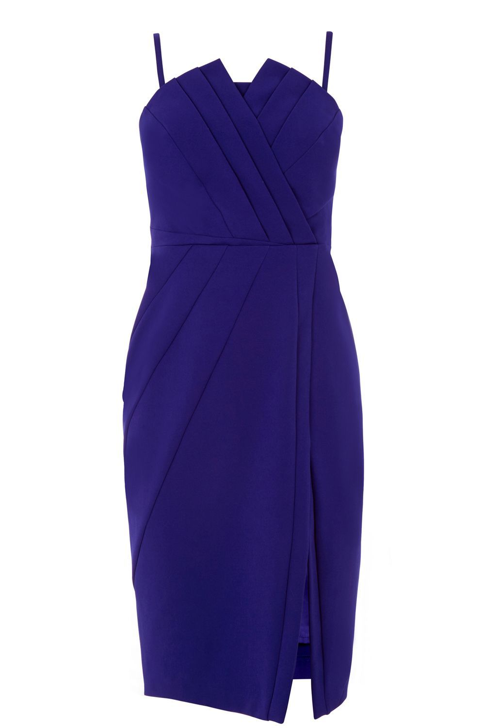 Structured Bandeau Dress, Blue - style: faux wrap/wrap; neckline: v-neck; fit: tight; pattern: plain; sleeve style: sleeveless; waist detail: fitted waist; hip detail: draws attention to hips; bust detail: subtle bust detail; predominant colour: navy; occasions: evening; length: on the knee; fibres: polyester/polyamide - 100%; sleeve length: sleeveless; texture group: crepes; pattern type: fabric; season: s/s 2016; wardrobe: event