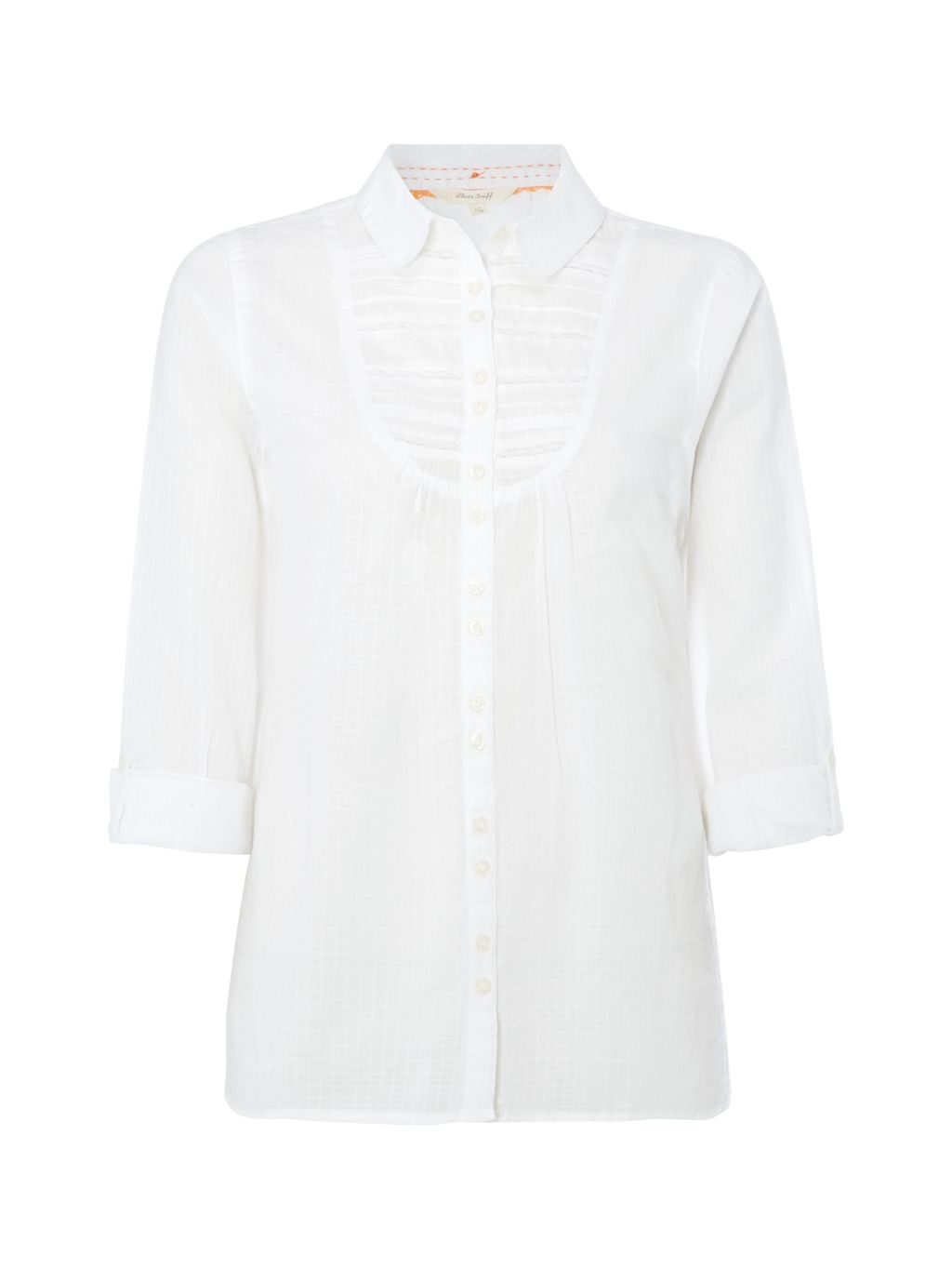 Past Time Shirt, White - neckline: shirt collar/peter pan/zip with opening; pattern: plain; style: shirt; predominant colour: white; occasions: casual, work, creative work; length: standard; fibres: cotton - 100%; fit: body skimming; sleeve length: 3/4 length; sleeve style: standard; texture group: cotton feel fabrics; pattern type: fabric; season: s/s 2016; wardrobe: basic