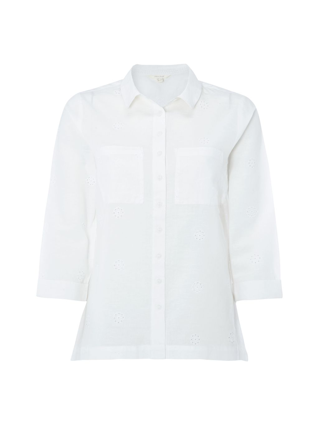 Etch Shirt, White - neckline: shirt collar/peter pan/zip with opening; pattern: plain; style: shirt; predominant colour: white; occasions: casual, work, creative work; length: standard; fibres: cotton - mix; fit: body skimming; sleeve length: 3/4 length; sleeve style: standard; texture group: cotton feel fabrics; pattern type: fabric; season: s/s 2016; wardrobe: basic
