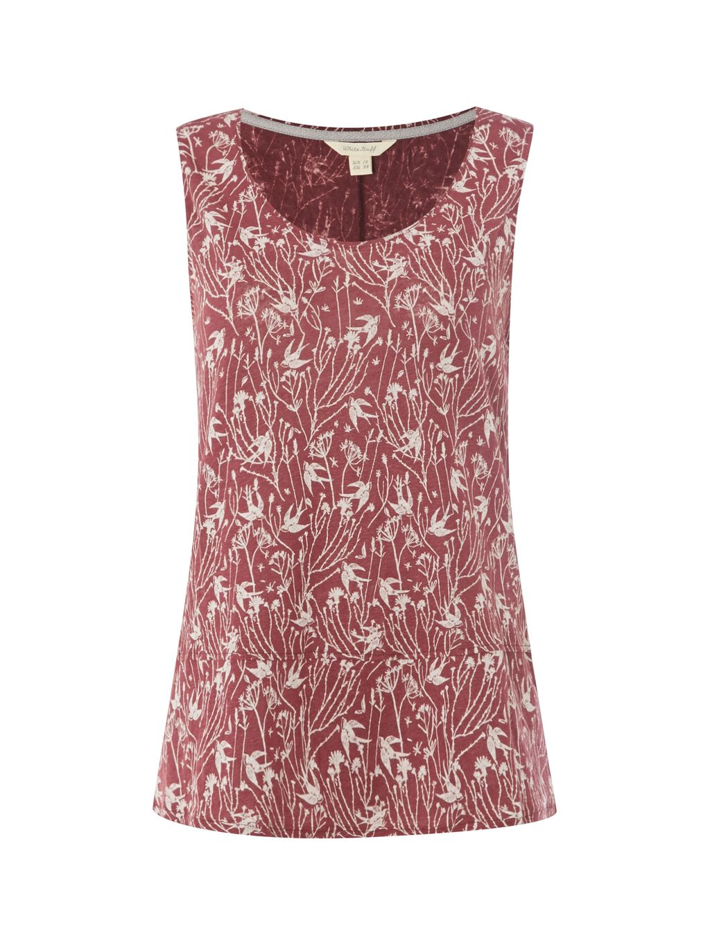 Swallow Linen Jersey Vest, Pink - neckline: round neck; sleeve style: sleeveless; style: vest top; predominant colour: terracotta; occasions: casual, creative work; length: standard; fibres: linen - 100%; fit: body skimming; sleeve length: sleeveless; texture group: linen; pattern type: fabric; pattern: patterned/print; pattern size: big & busy (top); season: s/s 2016; wardrobe: highlight