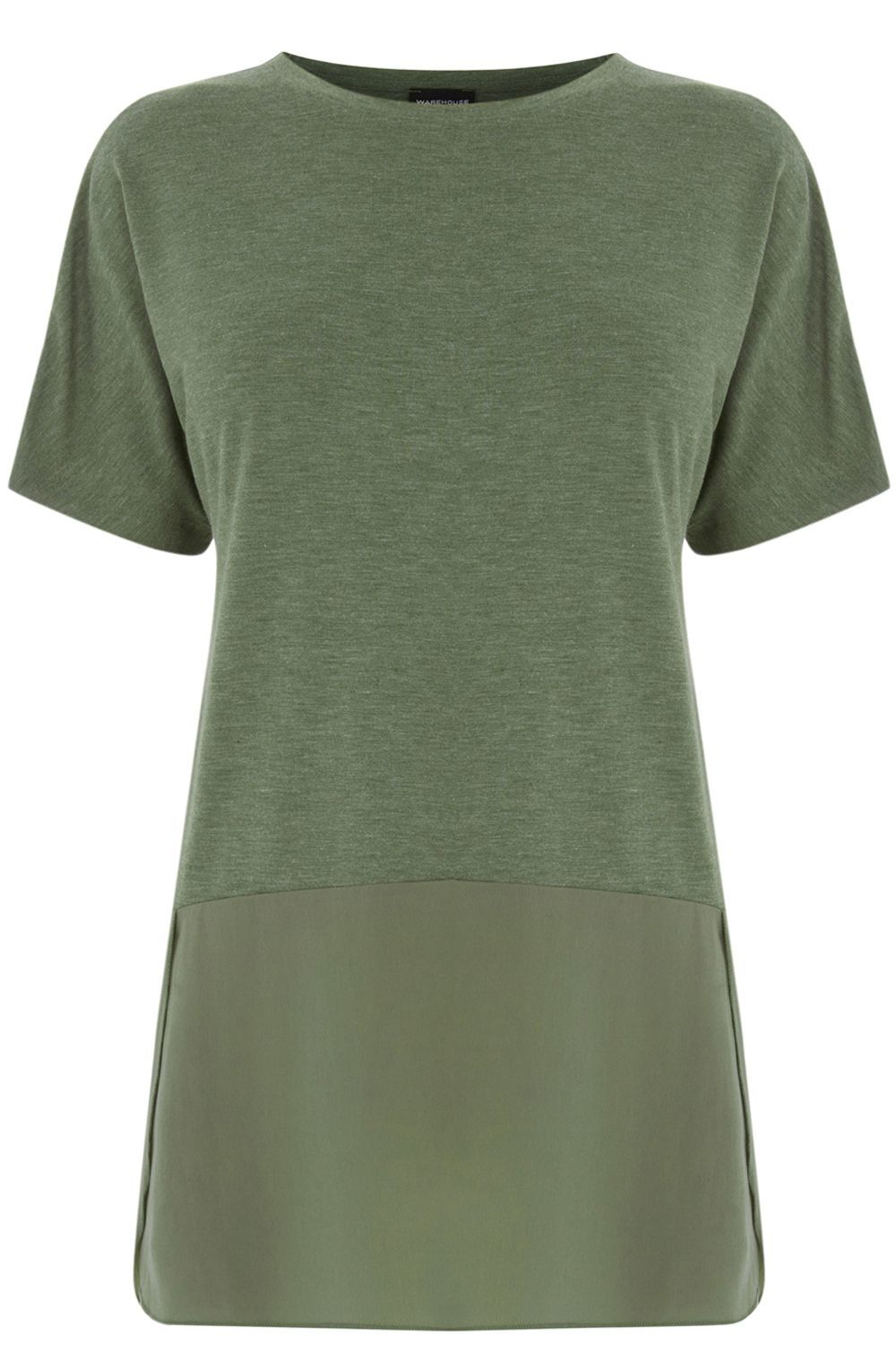 Woven Mix Short Sleeved Top, Khaki - neckline: round neck; pattern: plain; length: below the bottom; predominant colour: khaki; occasions: casual; style: top; fibres: polyester/polyamide - 100%; fit: body skimming; sleeve length: short sleeve; sleeve style: standard; pattern type: fabric; texture group: jersey - stretchy/drapey; season: s/s 2016