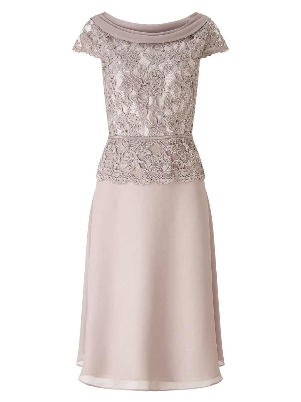 Embellished Lace Bodice Dress - style: shift; length: below the knee; neckline: slash/boat neckline; predominant colour: stone; occasions: evening, occasion; fit: soft a-line; fibres: polyester/polyamide - 100%; sleeve length: short sleeve; sleeve style: standard; texture group: lace; pattern type: fabric; pattern size: standard; pattern: patterned/print; season: s/s 2016; wardrobe: event