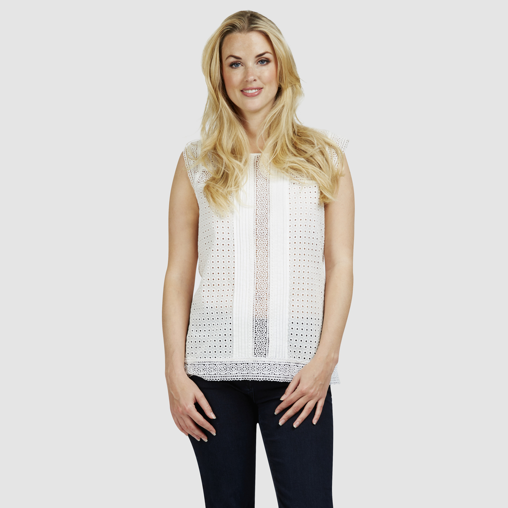 Broderie Lace Shell Top - neckline: round neck; pattern: plain; sleeve style: sleeveless; predominant colour: ivory/cream; occasions: casual, holiday; length: standard; style: top; fibres: cotton - 100%; fit: body skimming; sleeve length: sleeveless; texture group: cotton feel fabrics; pattern type: fabric; season: s/s 2016