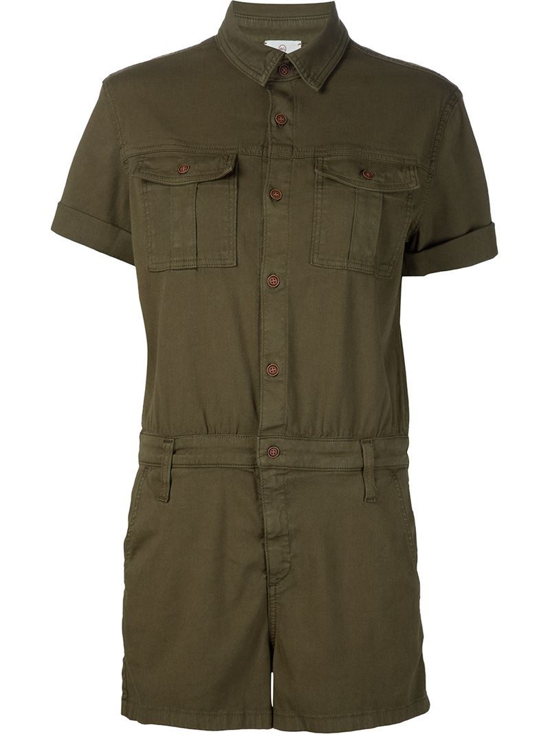 'rhoda' Playsuit, Women's, Size: Large, Green - neckline: shirt collar/peter pan/zip with opening; fit: tailored/fitted; pattern: plain; bust detail: pocket detail at bust; length: mid thigh shorts; predominant colour: chocolate brown; occasions: casual, holiday; fibres: cotton - stretch; sleeve length: short sleeve; sleeve style: standard; texture group: cotton feel fabrics; style: playsuit; pattern type: fabric; season: s/s 2016; wardrobe: holiday