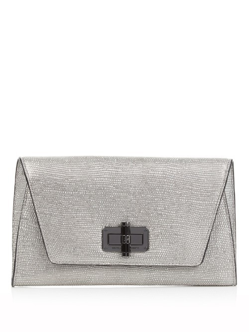 440 Gallery Uptown Clutch - predominant colour: silver; occasions: evening, occasion; type of pattern: heavy; style: clutch; length: hand carry; size: small; material: leather; pattern: plain; finish: metallic; season: s/s 2016; wardrobe: event