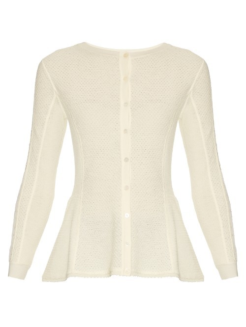 Lace Panel Wool Cardigan - neckline: round neck; pattern: plain; predominant colour: ivory/cream; occasions: casual, creative work; length: standard; style: standard; fibres: wool - mix; fit: slim fit; waist detail: peplum detail at waist; sleeve length: long sleeve; sleeve style: standard; texture group: knits/crochet; pattern type: knitted - fine stitch; season: s/s 2016