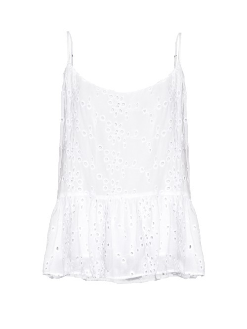 Marisa Ruffled Hem Broderie Anglaise Cami Top - sleeve style: spaghetti straps; pattern: plain; style: vest top; predominant colour: white; occasions: casual; length: standard; neckline: scoop; fibres: viscose/rayon - 100%; fit: body skimming; sleeve length: sleeveless; pattern type: fabric; texture group: broiderie anglais; season: s/s 2016; wardrobe: highlight