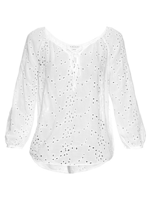 Londa Broderie Anglaise Lace Up Blouse - sleeve style: raglan; pattern: plain; style: blouse; predominant colour: white; occasions: casual, creative work; length: standard; neckline: scoop; fibres: viscose/rayon - 100%; fit: loose; sleeve length: long sleeve; pattern type: fabric; pattern size: standard; texture group: broiderie anglais; season: s/s 2016; wardrobe: highlight