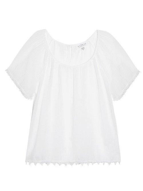 Buttercup Cotton Top - neckline: round neck; pattern: plain; predominant colour: white; occasions: casual; length: standard; style: top; fibres: cotton - mix; fit: straight cut; sleeve length: short sleeve; sleeve style: standard; texture group: cotton feel fabrics; pattern type: fabric; season: s/s 2016; wardrobe: basic