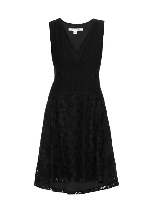 Fiorenza Dress - neckline: low v-neck; pattern: plain; sleeve style: sleeveless; predominant colour: black; occasions: casual; length: just above the knee; fit: fitted at waist & bust; style: fit & flare; fibres: cotton - mix; sleeve length: sleeveless; pattern type: fabric; texture group: other - light to midweight; season: s/s 2016; wardrobe: basic