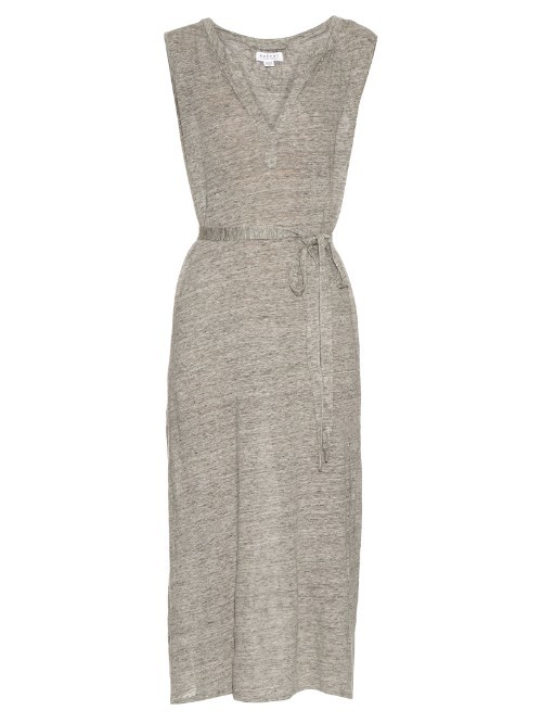 Bethzy Linen Dress - style: shift; length: calf length; neckline: v-neck; fit: fitted at waist; pattern: plain; waist detail: belted waist/tie at waist/drawstring; predominant colour: light grey; occasions: casual, creative work; fibres: linen - 100%; sleeve length: sleeveless; sleeve style: standard; pattern type: fabric; texture group: jersey - stretchy/drapey; season: s/s 2016; wardrobe: basic