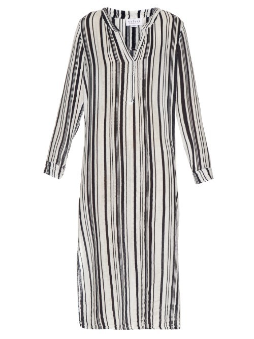 Genevie Striped Cotton Dress - style: shift; length: calf length; neckline: low v-neck; pattern: striped; secondary colour: mid grey; predominant colour: black; occasions: casual; fit: body skimming; fibres: cotton - 100%; sleeve length: long sleeve; sleeve style: standard; pattern type: fabric; texture group: other - light to midweight; season: s/s 2016; wardrobe: highlight