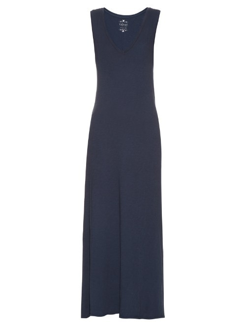 Sleeveless Burnout Jersey Maxi Dress - neckline: round neck; pattern: plain; sleeve style: sleeveless; style: maxi dress; length: ankle length; predominant colour: navy; occasions: casual; fit: body skimming; fibres: cotton - 100%; sleeve length: sleeveless; pattern type: fabric; texture group: jersey - stretchy/drapey; season: s/s 2016