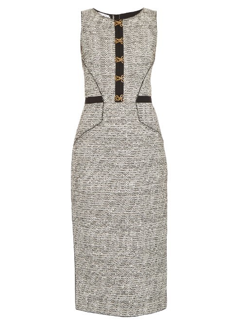 Sleeveless Bouclé Tweed Pencil Dress - style: shift; length: below the knee; fit: tailored/fitted; sleeve style: sleeveless; predominant colour: black; secondary colour: black; fibres: wool - mix; neckline: crew; sleeve length: sleeveless; pattern type: fabric; pattern: patterned/print; texture group: woven light midweight; occasions: creative work; season: s/s 2016; wardrobe: highlight