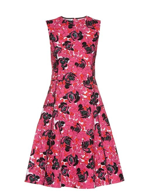 Floral Print Cotton Blend Dress - sleeve style: sleeveless; predominant colour: hot pink; secondary colour: hot pink; length: on the knee; fit: fitted at waist & bust; style: fit & flare; fibres: cotton - mix; occasions: occasion; neckline: crew; sleeve length: sleeveless; pattern type: fabric; pattern size: standard; pattern: florals; texture group: other - light to midweight; multicoloured: multicoloured; season: s/s 2016; wardrobe: event
