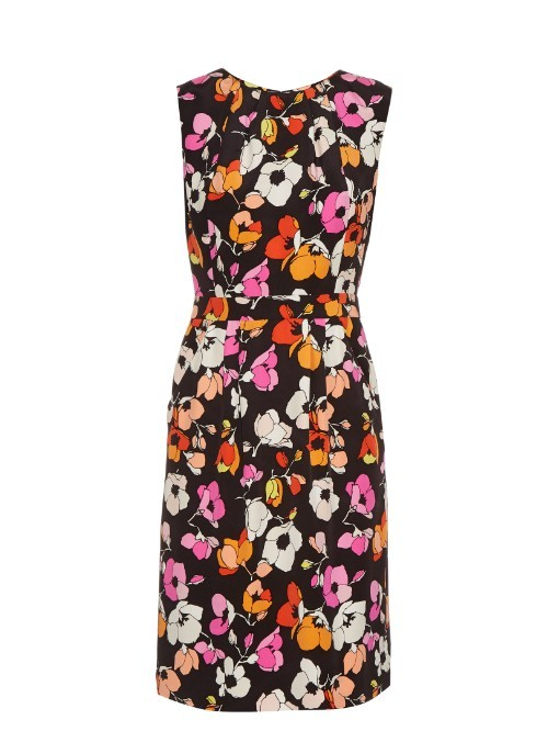 Sleeveless Floral Print Silk Pencil Dress - style: shift; sleeve style: sleeveless; secondary colour: pink; predominant colour: black; occasions: evening; length: just above the knee; fit: body skimming; fibres: silk - 100%; neckline: crew; sleeve length: sleeveless; pattern type: fabric; pattern: patterned/print; texture group: other - light to midweight; multicoloured: multicoloured; season: s/s 2016; wardrobe: event