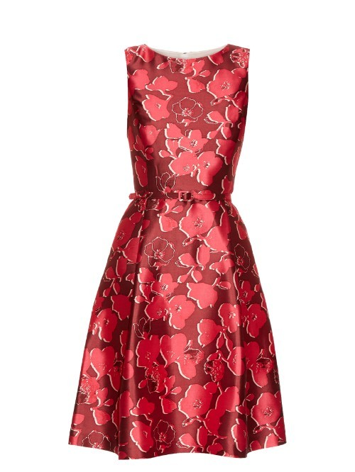Sleeveless Floral Print Mikado Dress - neckline: round neck; sleeve style: sleeveless; style: prom dress; waist detail: belted waist/tie at waist/drawstring; secondary colour: hot pink; predominant colour: burgundy; occasions: evening, occasion; length: just above the knee; fit: fitted at waist & bust; fibres: silk - 100%; hip detail: structured pleats at hip; sleeve length: sleeveless; texture group: structured shiny - satin/tafetta/silk etc.; pattern type: fabric; pattern: patterned/print; season: s/s 2016; wardrobe: event