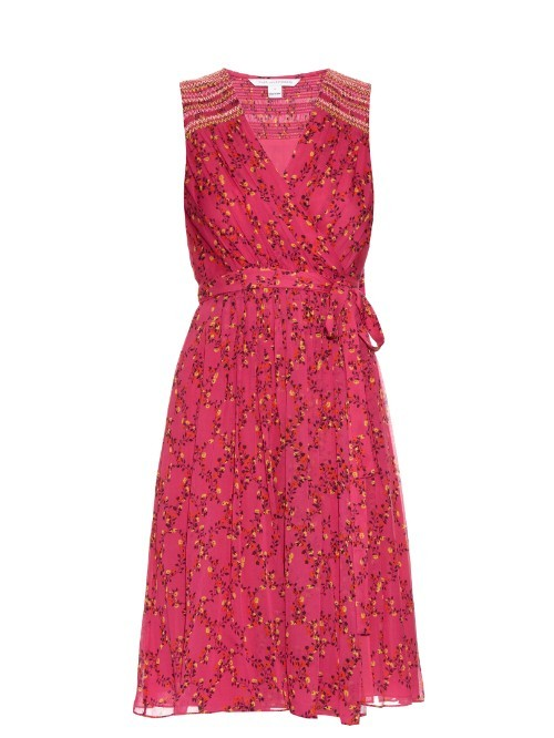 Bali Dress - style: faux wrap/wrap; neckline: low v-neck; fit: fitted at waist; sleeve style: sleeveless; waist detail: belted waist/tie at waist/drawstring; predominant colour: hot pink; secondary colour: hot pink; length: on the knee; fibres: silk - 100%; occasions: occasion; sleeve length: sleeveless; pattern type: fabric; pattern: patterned/print; texture group: other - light to midweight; season: s/s 2016; wardrobe: event