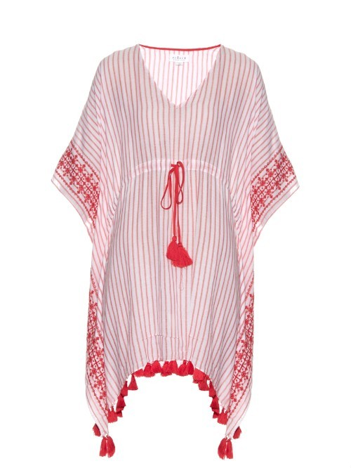 Janessa Embroidered Tassel Hem Dress - neckline: low v-neck; sleeve style: dolman/batwing; fit: loose; style: kaftan; secondary colour: white; predominant colour: true red; length: on the knee; fibres: cotton - 100%; sleeve length: 3/4 length; occasions: holiday; pattern type: fabric; pattern size: standard; pattern: patterned/print; texture group: woven light midweight; season: s/s 2016; wardrobe: holiday