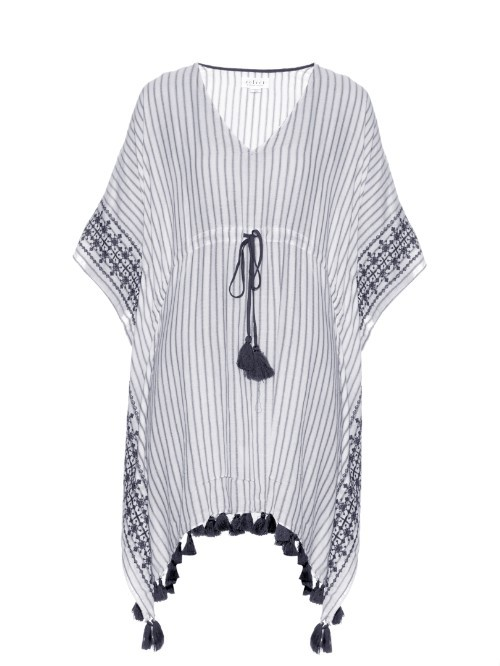 Janessa Embroidered Tassel Hem Dress - neckline: low v-neck; sleeve style: dolman/batwing; style: kaftan; waist detail: belted waist/tie at waist/drawstring; secondary colour: white; predominant colour: navy; length: on the knee; fit: body skimming; fibres: cotton - 100%; sleeve length: half sleeve; texture group: cotton feel fabrics; occasions: holiday; pattern type: fabric; pattern size: standard; pattern: patterned/print; season: s/s 2016; wardrobe: holiday