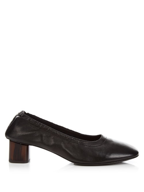 Poket Block Heel Leather Ballet Pumps - predominant colour: black; material: leather; heel height: mid; heel: block; toe: pointed toe; style: courts; finish: plain; pattern: plain; occasions: creative work; season: s/s 2016; wardrobe: investment