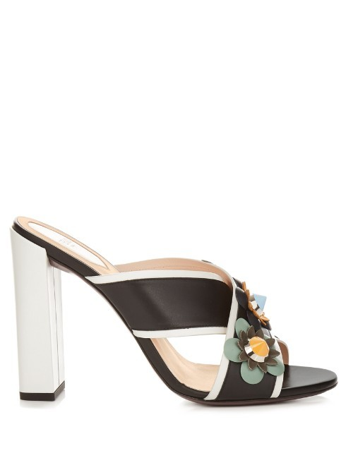 Flowerland Leather Mules - predominant colour: black; occasions: occasion, creative work; material: leather; heel: block; toe: open toe/peeptoe; style: standard; finish: plain; pattern: florals; heel height: very high; season: s/s 2016; wardrobe: highlight