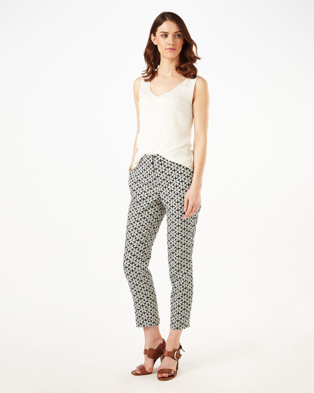 (W) Alice Daisy Trousers - waist: mid/regular rise; predominant colour: ivory/cream; secondary colour: black; length: ankle length; fibres: cotton - stretch; fit: slim leg; pattern type: fabric; pattern: patterned/print; texture group: woven light midweight; style: standard; occasions: creative work; pattern size: standard (bottom); season: s/s 2016; wardrobe: highlight