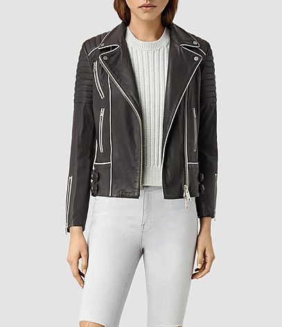 Bixer Piped Leather Biker Jacket - pattern: plain; collar: asymmetric biker; style: baseball; secondary colour: white; predominant colour: black; occasions: casual, creative work; length: standard; fit: straight cut (boxy); fibres: polyester/polyamide - 100%; sleeve length: long sleeve; sleeve style: standard; texture group: leather; collar break: high/illusion of break when open; pattern type: fabric; season: s/s 2016; wardrobe: highlight; embellishment location: bust