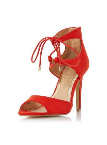 Womens **Head Over Heels Modern Ghillie Sandals Orange - predominant colour: true red; occasions: evening, occasion; heel height: high; ankle detail: ankle tie; heel: stiletto; toe: open toe/peeptoe; style: strappy; finish: plain; pattern: plain; material: faux suede; season: s/s 2016; wardrobe: event